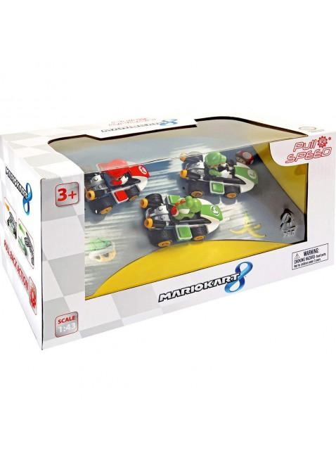 Set 3 Macchinine 3 Personaggi Mario Kart Scala 1:43 Carrera Toys Pull&Speed