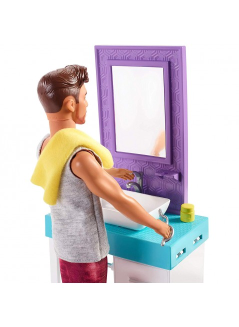 Mattel Barbie FYK53 Set da gioco a tema bagno con bambola da barba Ken e lavabo