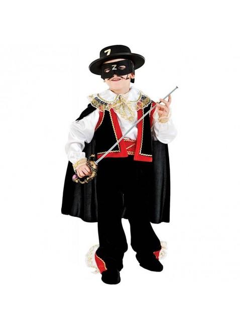Costume Vestito di Carnevale Cavaliere Mascherato Zorro Taglia 5 Anni Bimbo 1051