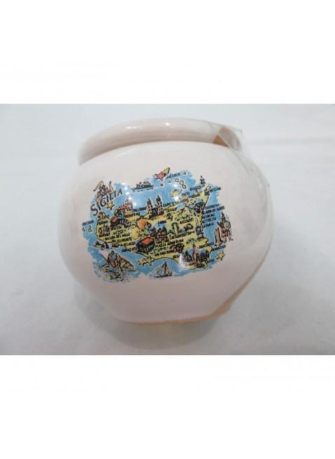 posacenere  ceramica metà smaltato  bianco metà terracotta