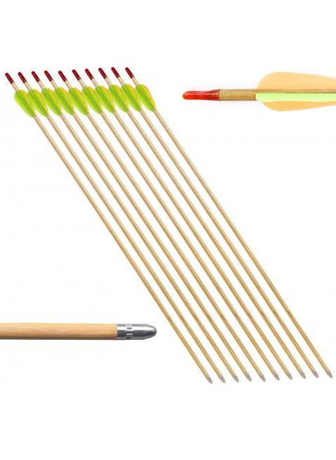 10 PZ Frecce Freccia per Arco Tiro a Bersaglio in Legno Archi 27.5 Pollici Punta