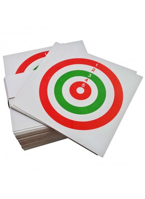 Confezione 100 Bersagli in cartoncino Tricolore 14x14 cm Bersaglio Softair