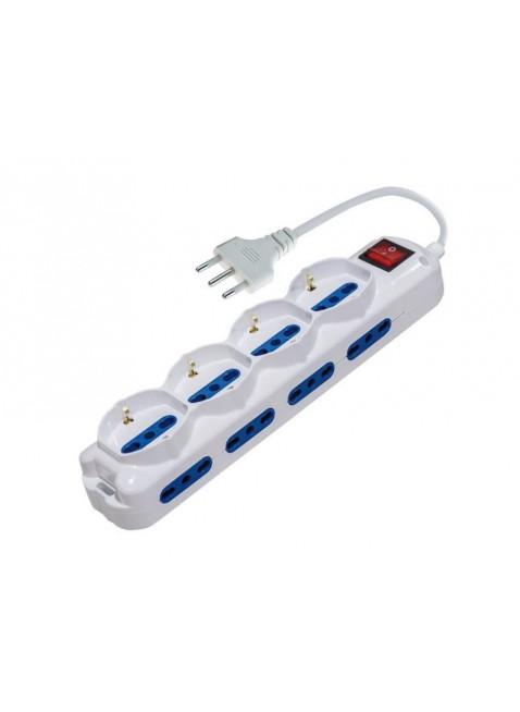 Ciabatta Elettrica Multipresa 4 Prese Schuko 8 Bipasso Cavo 1,5 m Interruttore