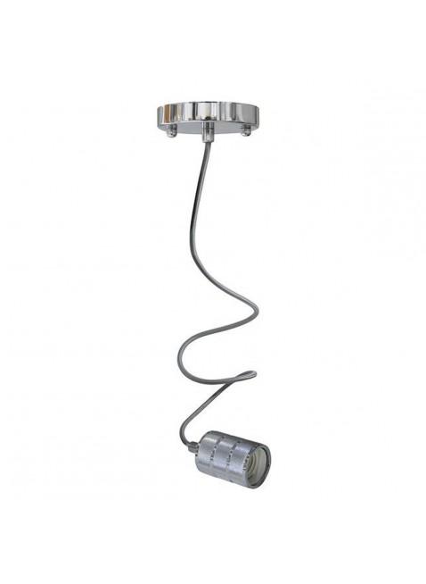Pendente E27 Portalampada a Sospensione In Metallo Silver Cavo Telato