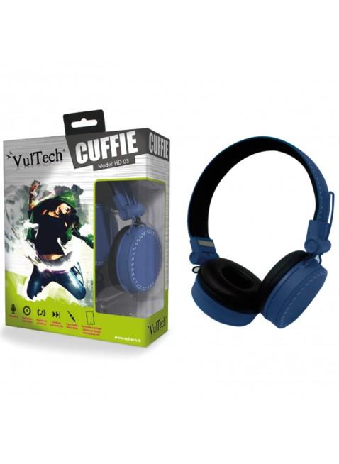 CUFFIE IPOD IPHONE HEADPHONES PER STEREO PC MUSICA MP3 GAME CD DVD BLU VULTECH