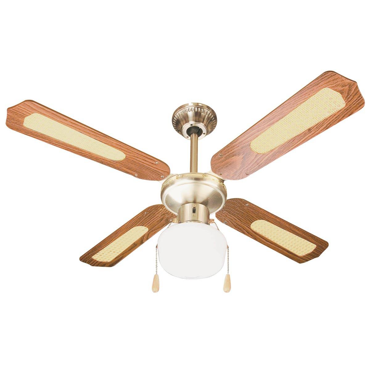 Ventilatore da Parete Soffitto in Legno con Luce Lampada 3 Pale