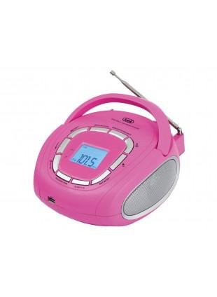 Stereo Boombox portatile Radio Fm Audio Speaker Altoparlanti Trevi USB Aux Rosa