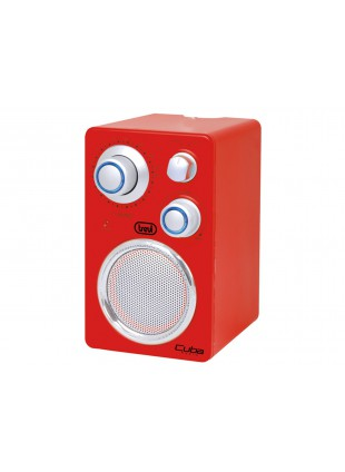 Radio portatile Per Mp3 Banda FM AUX Trevi Rosso Cuba Con LED 165x95x42 mm