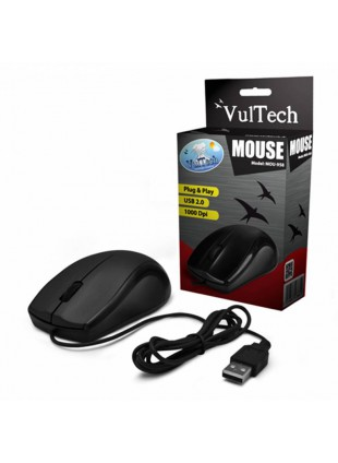 MOUSE OTTICO WIRELESS CON FILO USB NERO ALTA PRECISIONE 1000 DPI VULTECH PER PC