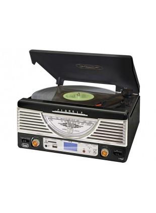 IMPIANTO STEREO REGISTRATORE MP3 GIRADISCHI VINILI 33 45 GIRI USB TREVI NERO NEW