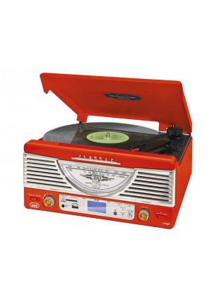 IMPIANTO STEREO REGISTRATORE MP3 GIRADISCHI VINILI 33 45 GIRI USB TREVI ROSSO
