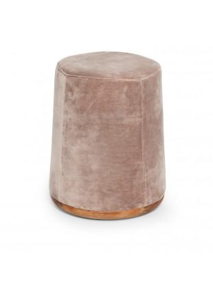 Pouff velluto rosa con struttura e base in legno