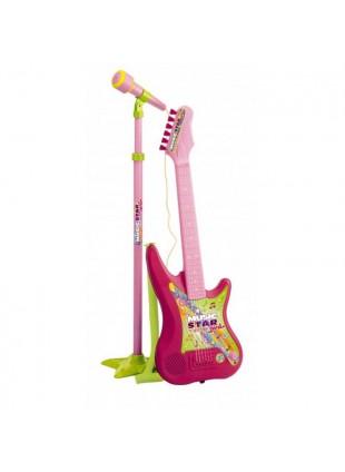 Chitarra Bimba Elettronica Rosa 6 corde con Microfono Asta Regolabile