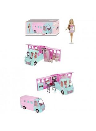 City Life Camper Deluxe Con Bambola con Accessori Veicolo per Bambole Bambina