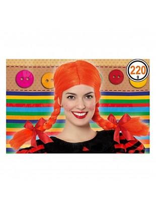 Parrucca Con trecce Arancione Taglia Unica Da Adulti Festa Carnevale Atosa 39895