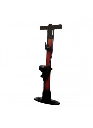 Pompa da pavimento per bici bicicletta con manometro e raccordo universale rosso