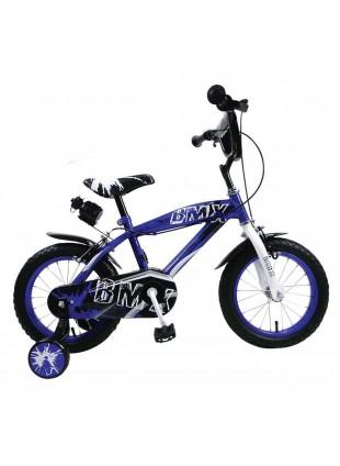 Bici bicicletta BMX mtb blu per bimbo bambino misura 16 con borraccia e rotelle