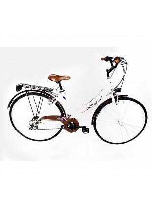 city bike bicicletta donna cerchi freni cavalletto alluminio telaio acciaio m 28