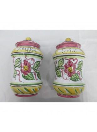 coppia barattoli in ceramica di Caltagirone dipinti a mano pezzi unici