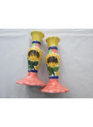 coppia candelabri in Ceramica con girasoli