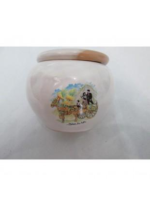 posacenere in ceramica metà smaltato  bianco metà terracotta