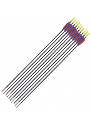 10 PZ Frecce Freccia per Arco Tiro a Bersaglio in Fibra Archi 28.5 Pollici Punta