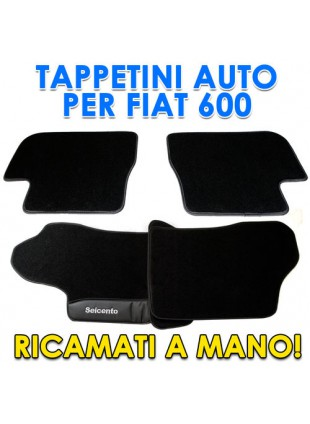 4PZ TAPPETI TAPPETINI SET TAPPETINO TAPPETO PER AUTO FIAT 600 SEICENTO RICAMATI