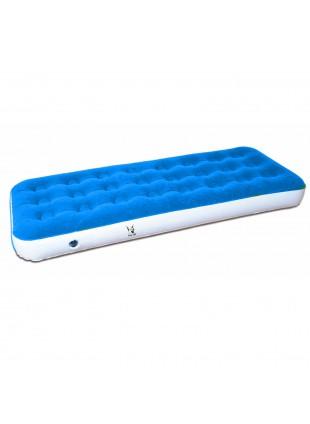 Materassino Gonfiabile singolo Floccato Azzurro per Campeggio 1 Persona 185x73cm