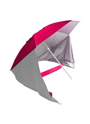 Ombrellone tenda Doppio Uso Parasole Spiaggia Campeggio Mare Rosso in Alluminio