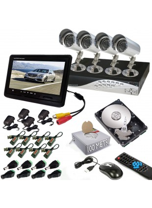 KIT DVR 4 TELECAMERA VIDEOSORVEGLIANZA LAN HD 500GB MONITOR BALUN IPHONE ANDROID