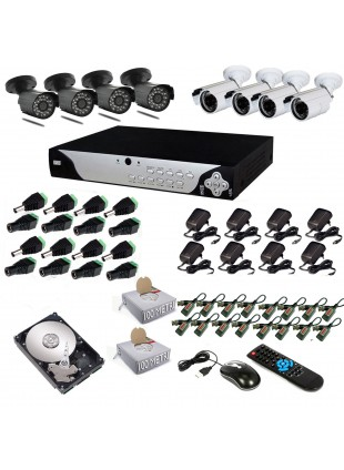 KIT DVR 8 TELECAMERE 600 TVL VIDEOSORVEGLIANZA LAN HD 500GB BALUN ANDROID IPHONE