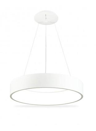 Lampadario Moderno Bianco Rotondo Anello 80 cm Luce Bianca Calda 3000 K 96 W