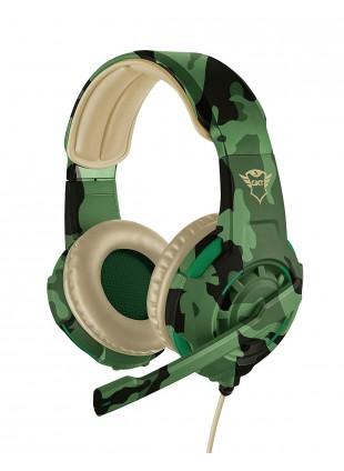 Cuffie Gioco Trust Gaming Verde Militare Morbide Microfono Archetto Regolabile