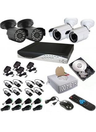 KIT DVR 4 TELECAMERA 600 TVL VIDEOSORVEGLIANZA LAN HD 500GB BALUN IPHONE ANDROID