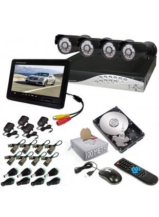 KIT DVR 4 TELECAMERA 600 TVL VIDEOSORVEGLIANZA LAN HD 500GB MONITOR BALUN IPHONE