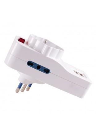 Ciabatta Multipresa Elettrica Adattatore Tripolare 3 Ingressi Spina 2 Porte USB