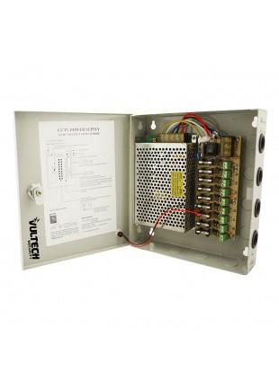 Box Alimentatore Stabilizzato Fusibili 9 Telecamere 10A 12V VULTECH CM-10A-9CH