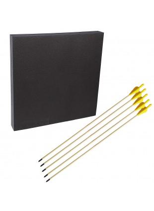 Kit tiro con l'arco battifreccia Booster quadrato frecce in legno punta fissa