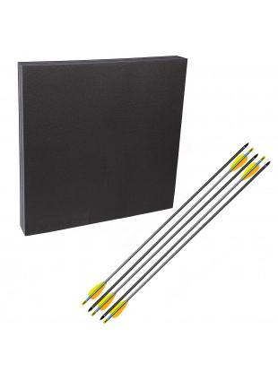 """Kit con battifreccia Booster in schiuma sintetica e 5 frecce carbonio 30"""" sport"""