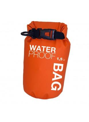 Borsa Sacco Impermeabile a Tenuta Stagna 1,5 Litri Arancione per Campeggio Barca