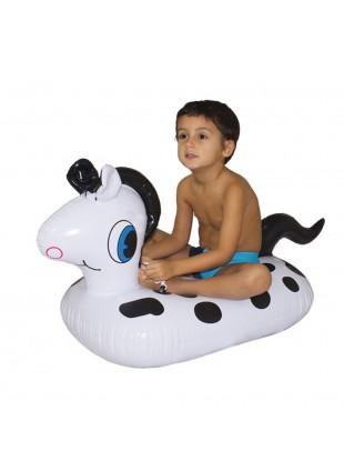 Cavallino cavalcabile Cavallo gonfiabile con macchie nere Bambino 72x46x16 cm