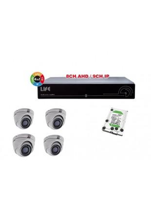 Kit Sicurezza Videosorveglianza con XVR 8 Canali 1 Hard Disk e 4 Telecamere Dome