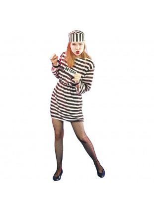 Vestito Carnevale Costume Carcerata Prigioniera Donna Festa in Maschera