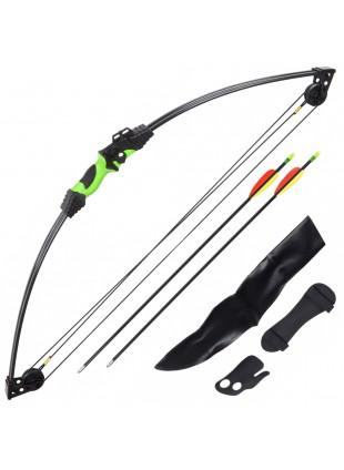 Kit Arco Compound 2 Frecce Freccia Faretra Bersaglio Fibra 12 Libbre 24 Pollici