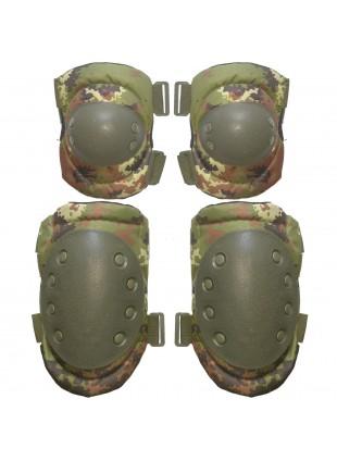 Ginocchiere Gomitiere Protezioni Tattici Verde Militare per Softair Mimetiche