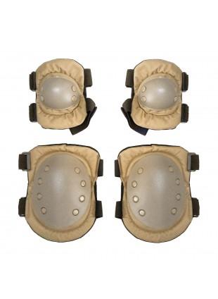 Kit Ginocchiere e Gomitiere di protezione Rigide in ABS Royal per Softair TAN