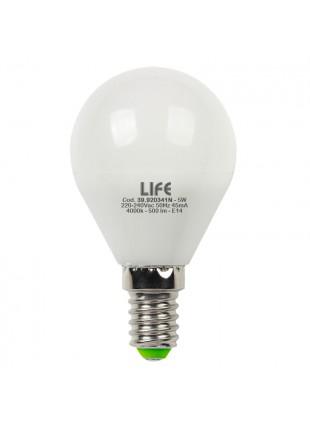 Lampada Lampadina E14 LED SMD LIFE 5W Minisfera Luce Naturale 500 Lumen