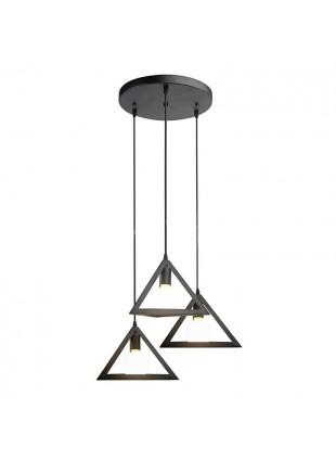 Lampadario Pendente Moderno Nero Geometrico 60W E27 Triangoli da Soffitto Nero