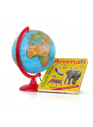 MAPPAMONDO GLOBO LUMINOSO ZOO CON LIBRO DEGLI ANIMALI 25 CM TECNO DIDATTICA NEW