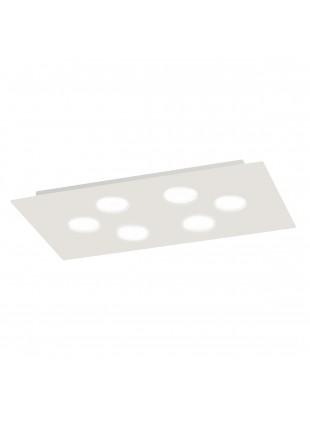 Plafoniera Led Alluminio Bianco Rettangolare 58x33 cm 6 Luci